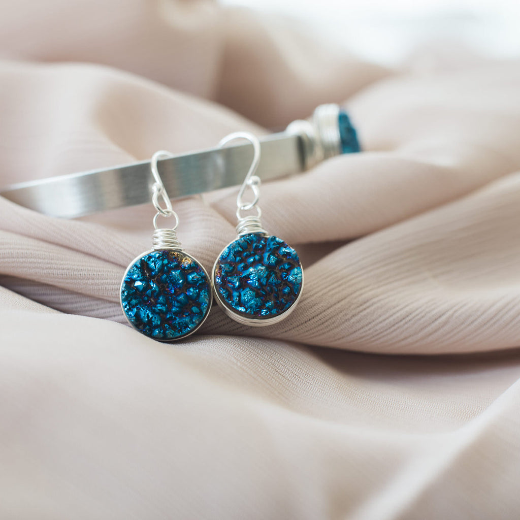 Dark Blue Druzy Sterling Silver Earrings