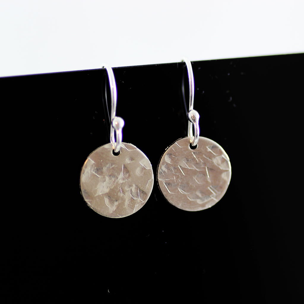 Sterling Silver Small Metal Circle Drop Earrings