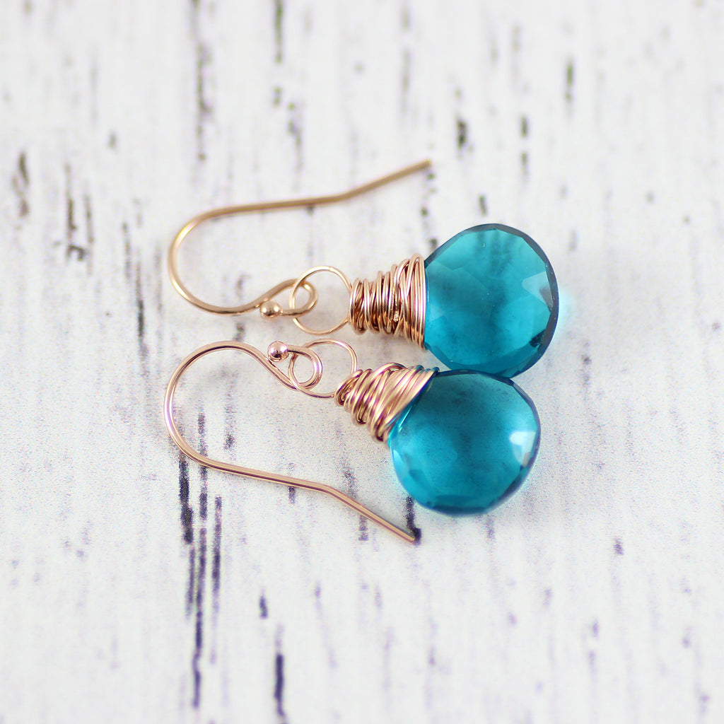Teal Gemstone Rose Gold Dangle Earrings