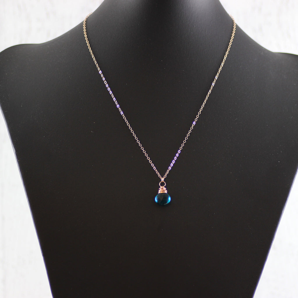 Teal Gemstone Rose Gold Pendant Necklace