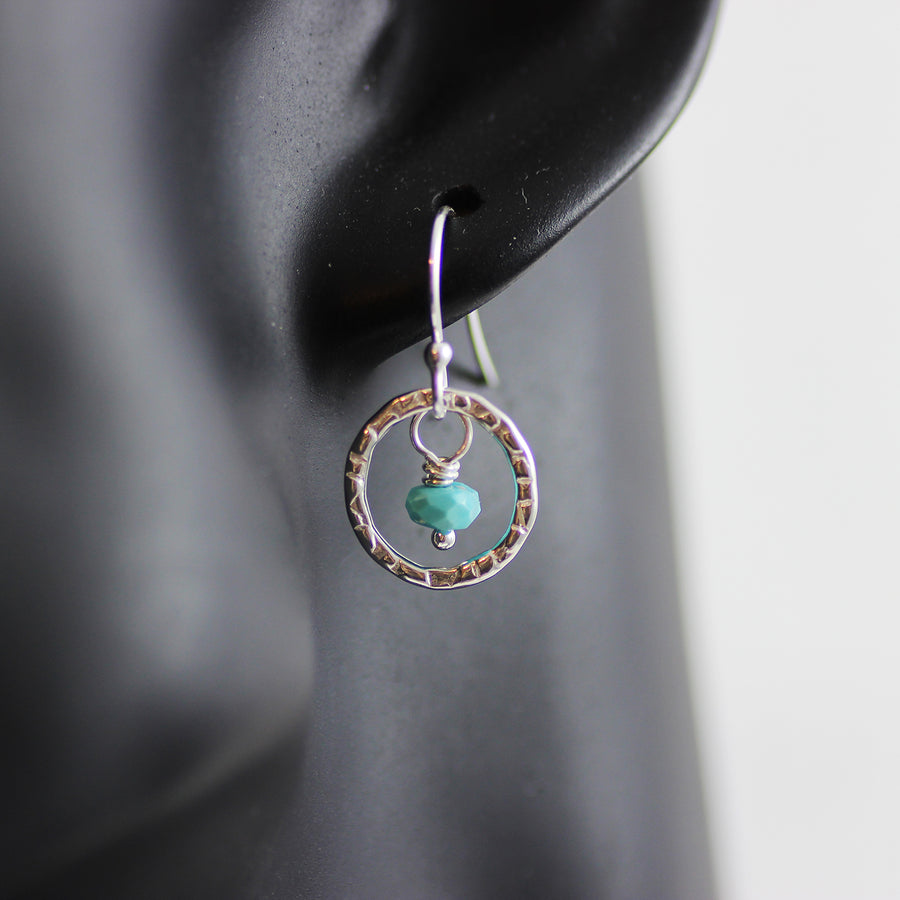 Turquoise Gemstone Sterling Silver Metal Drop Earrings