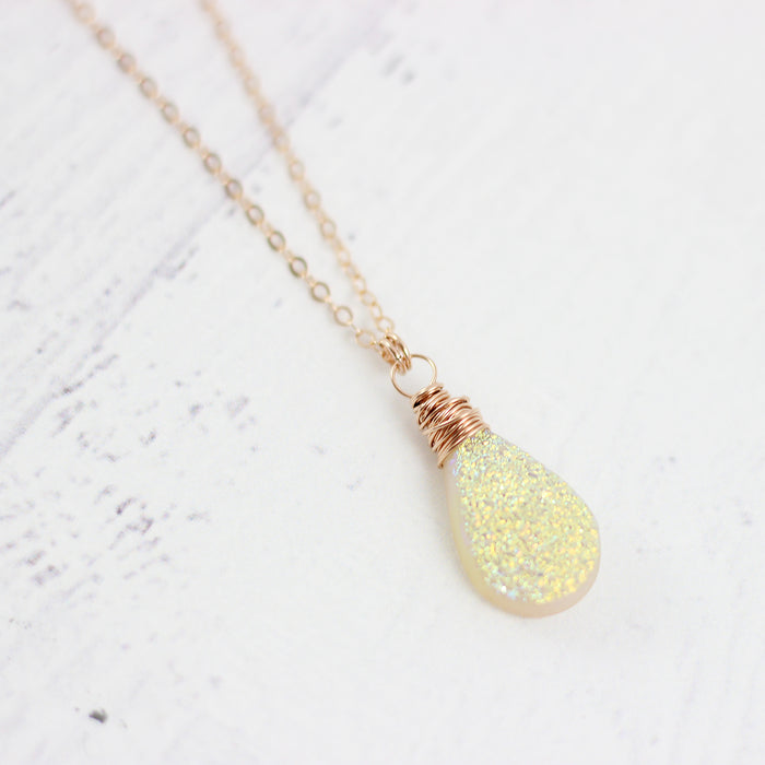 Yellow Druzy Teardrop Rose Gold Necklace