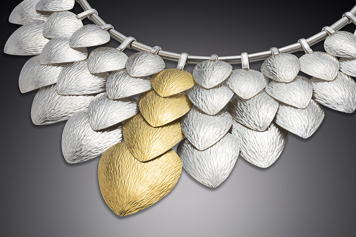 Scales of Silver and Gold necklace, DMG Designs Handcrafted Maine USA