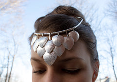 Scale Veil, sterling silver ceremonial veil, DMG Designs Handcrafted Maine USA
