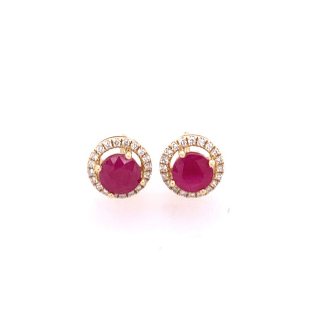 Ruby and Diamond Earrings in Yellow Gold