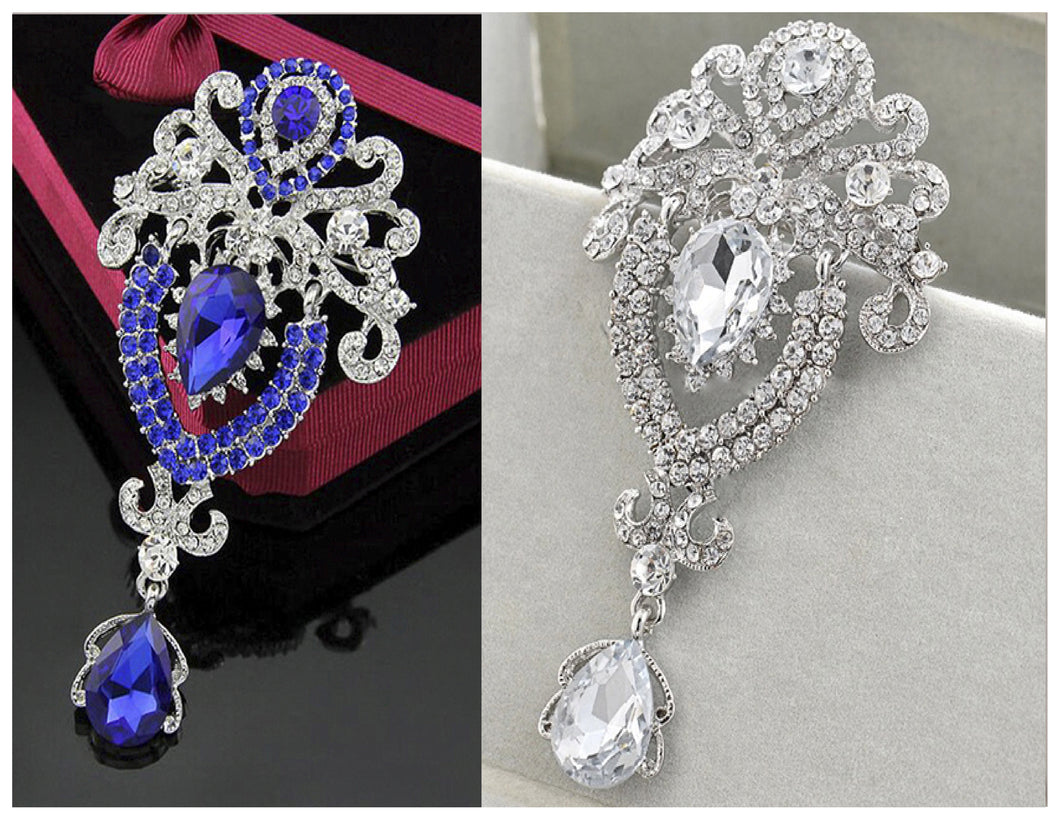 2 For $30  Mrsz.Tina Brooch Collection 2021-Crystals & Silver / Blue Brooch