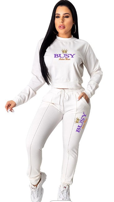BUSY Active Wear Jogging Suit- White (Medium)