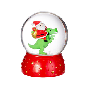 DINOSAUR WITH SANTA SNOW GLOBE