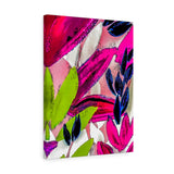 "Pink Leaves Canvas Wall Art 18"" x 24"" Gallery Wrapped Giclée Print"