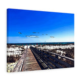 "Beach Boardwalk Canvas Artwork 24"" x 18"" Gallery Wrapped Giclée Print"