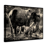 "Elephants Canvas Artwork 24"" x 18"" Gallery Wrapped Giclée Print"