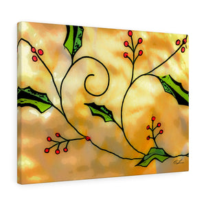 "Christmas Holly Canvas Giclée 24"" x 18"" Gallery Wrapped Print"