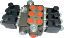 Load image into Gallery viewer, Monoblock Hydraulic Directional Control Valve, 3 Spool, 40 lpm, 24VDC, Open Centre Spool