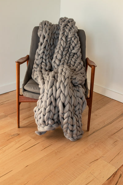 Cloud Chunky Knit Blanket - Gray