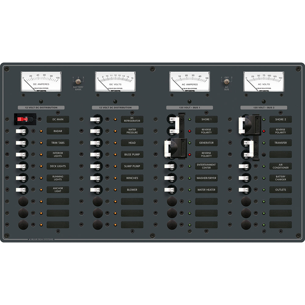 Blue Sea 8086 AC 3 Sources +12 Positions/DC Main +19 Position Toggle Circuit Breaker Panel - White Switches [8086]