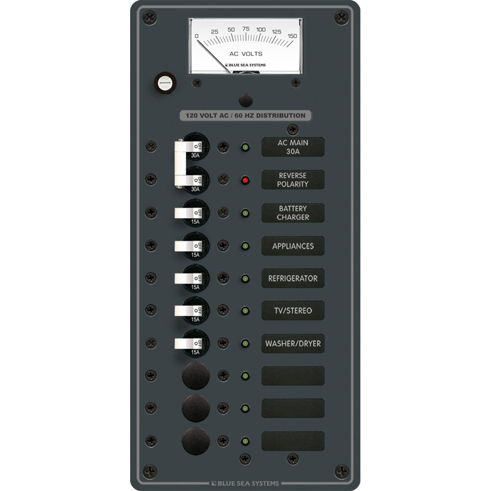 Blue Sea 8488 Breaker Panel - AC Main + 8 Positions - White [8488]