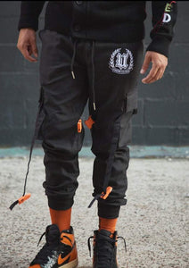 Front View Black Cargo Pants Black Buckles on Model