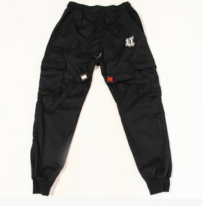 Flat Lay Front View Black Cargo Pants with reflective buckles