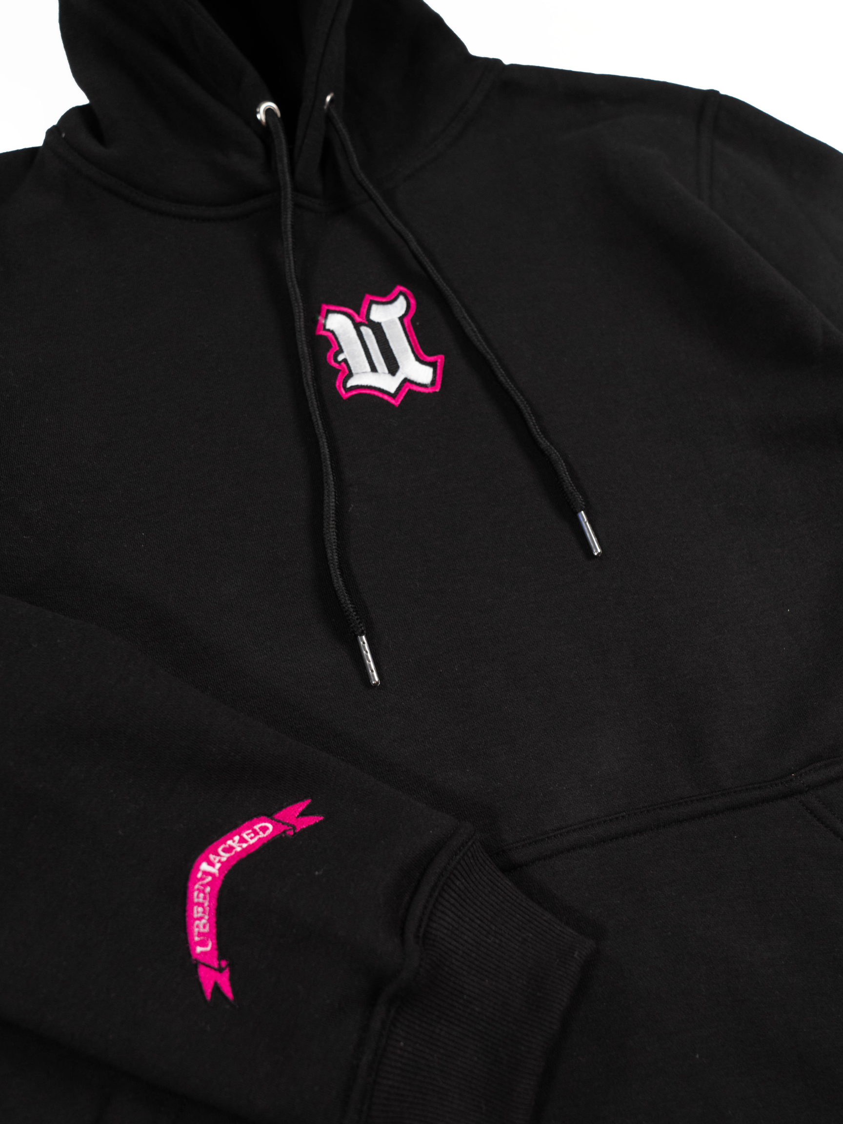 DCDCT Black Hoodie close up embroidery