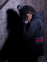 Load image into Gallery viewer, Model Wearing UBJ Beanie & Dreams Black Hoodie Back View
