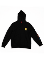 Load image into Gallery viewer, Black Patchwork Zip Up Hoodie Flat Lay Front View