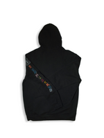 Load image into Gallery viewer, Black Patchwork Zip Up Hoodie Flat Lay Back View
