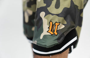 Close up UBJ logo embroidered camo basketball shorts