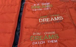 Dreams Embroidery Puffer Vest