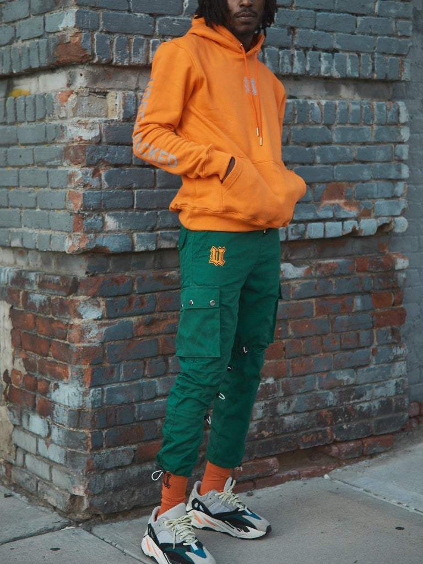 Green Cargo Pants on Model Lifestyle Shot