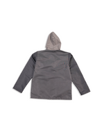 Load image into Gallery viewer, Grey Nylon Jacket Flat Lay Back View