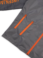 Load image into Gallery viewer, Grey Nylon Jacket Flat Lay Close up details