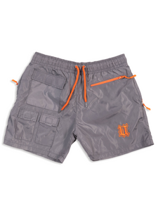 Flay Lay Grey Nylon Shorts Front View