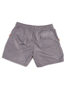 Flay Lay Grey Nylon Shorts Back View