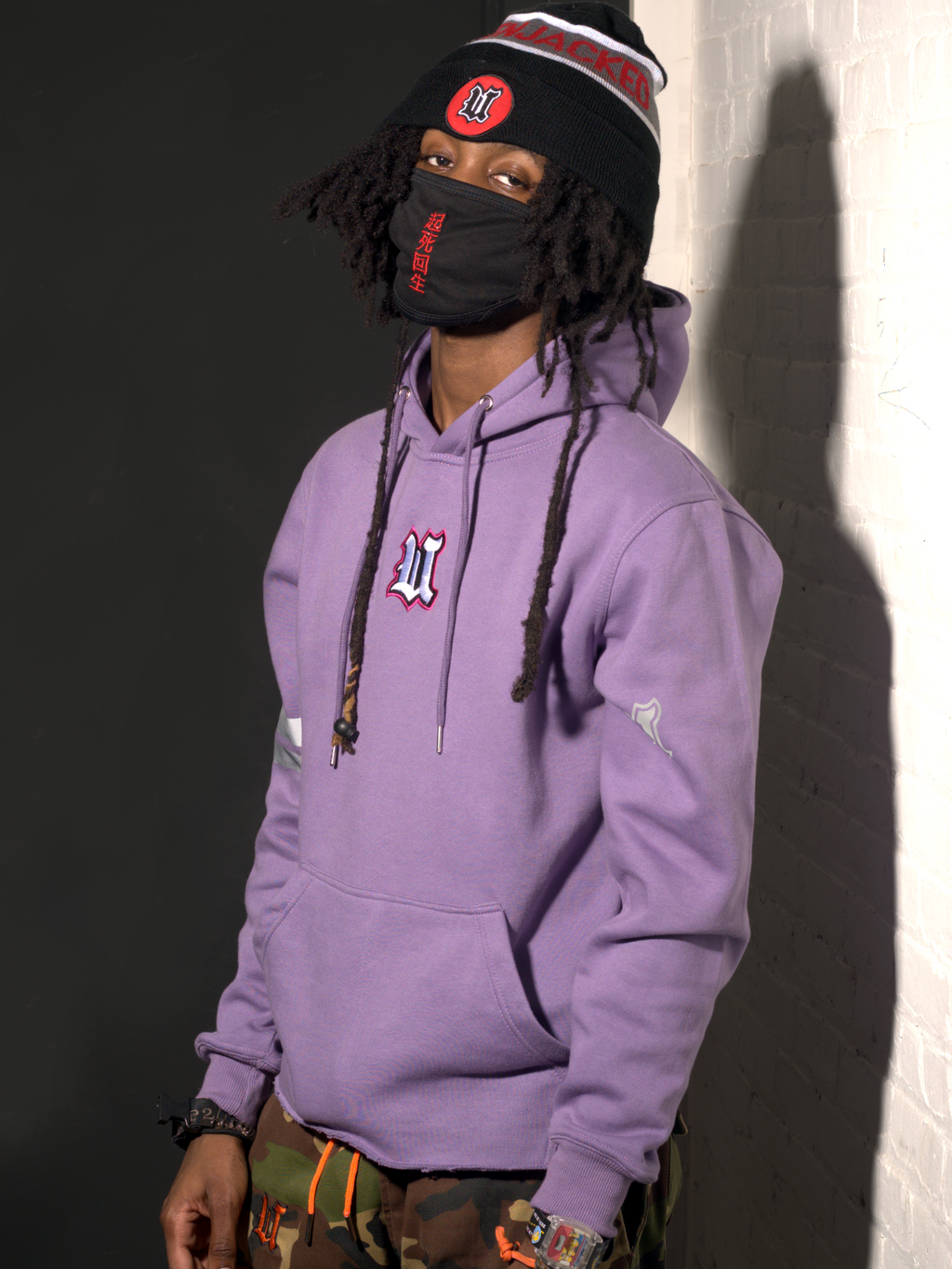Model Wearing UBJ Beannie & DCDCT Lilac Hoodie