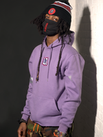Load image into Gallery viewer, Model Wearing UBJ Beannie & DCDCT Lilac Hoodie