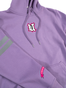 DCDCT Lilac Hoodie close up embroidery