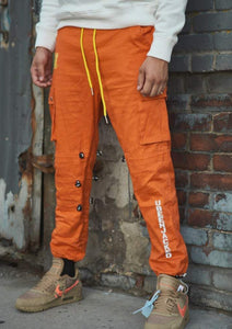 Orange Cargo Pants on Model