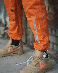 Reflective UB J print orange cargo pants