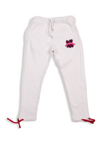 Load image into Gallery viewer, White UBJ Sweatpants Flat Lay Front View