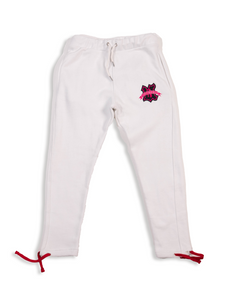 White UBJ Sweatpants Flat Lay Front View