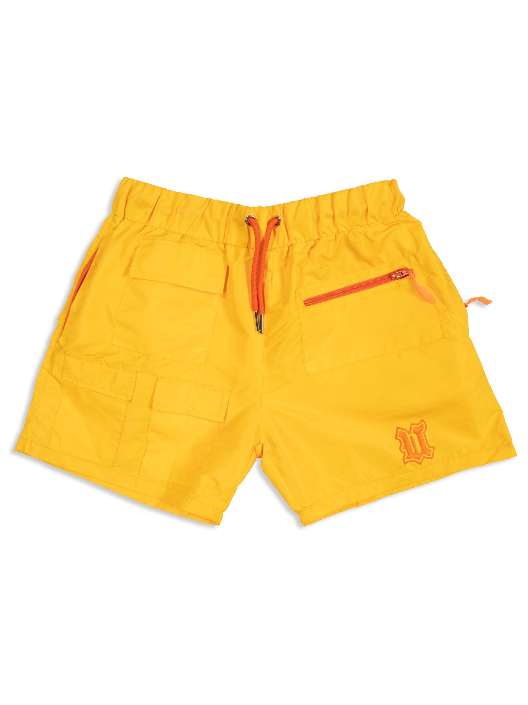 Flat Lay Yellow Nylon Short Front View