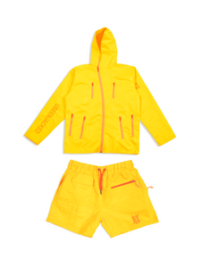 Flat Lay Shot Yellow Nylon Set Front View