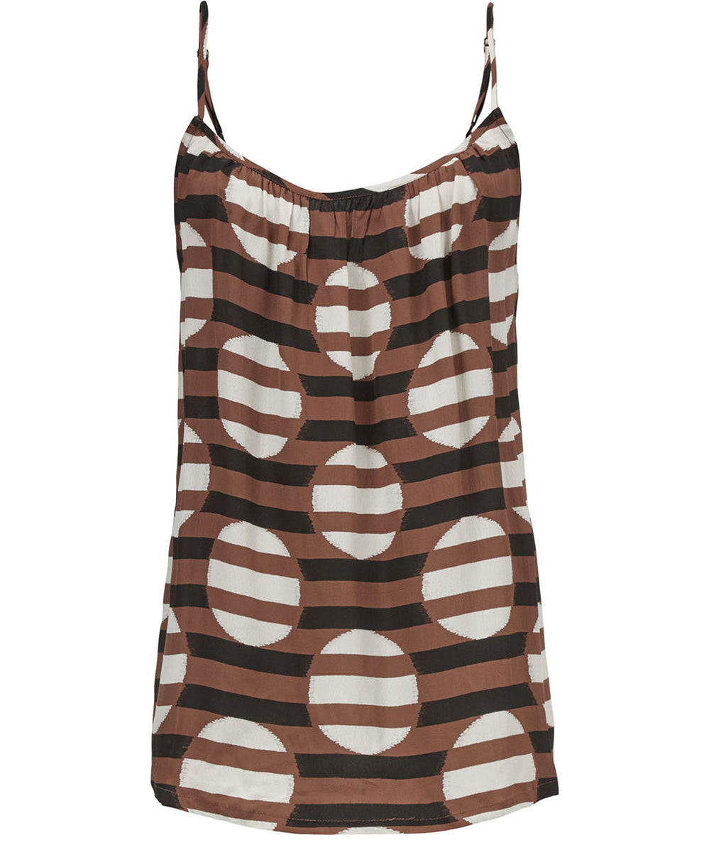 Edie Tank Top – Tiramisu Stripe and Dot Print – Masai