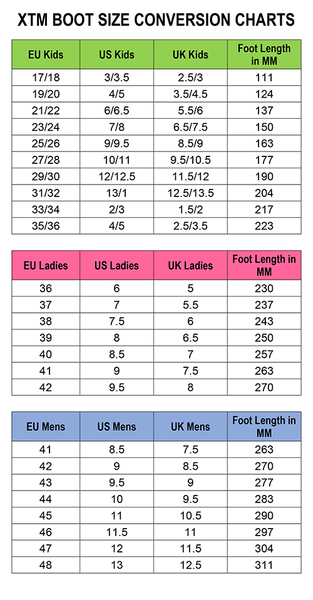 XTM Boot Sizing Conversion Chart