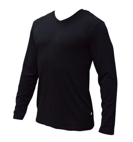 Bamboo Textiles Mens V Neck Long Sleeve Top