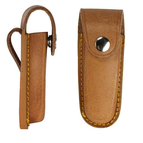 Brown Vertical Leather Pocket Knife Pouch