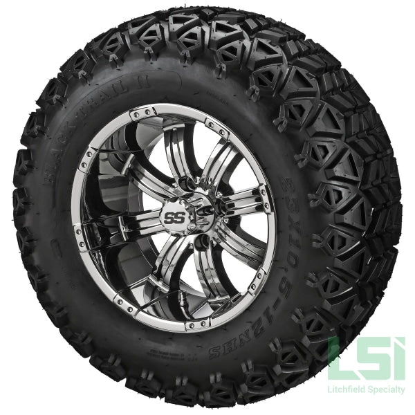 12X7 Mirror Casino Wheel On 23X10.50-12 Black Trail Tire 12 Lifted Assembly