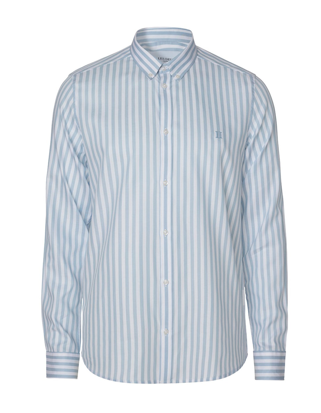 Les Deux Christoph Stripe Poplin Shirt Dust Blue/White
