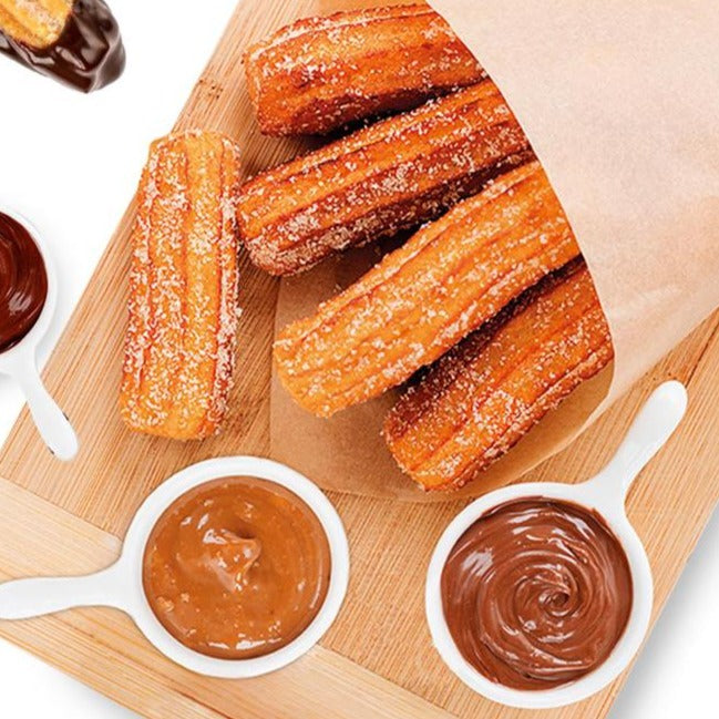 Churros with nutella, caramel or chocolate
