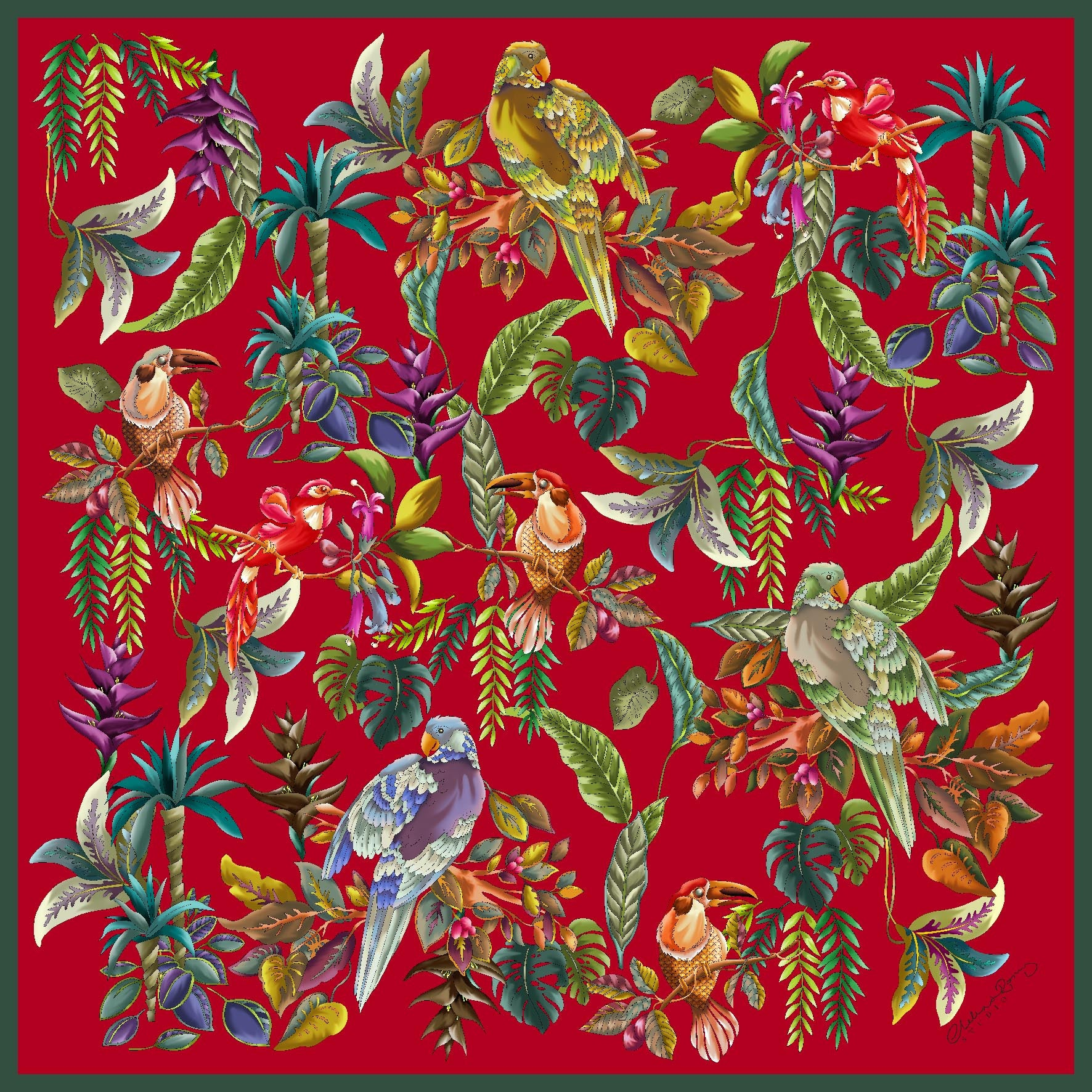 Parrots on Red